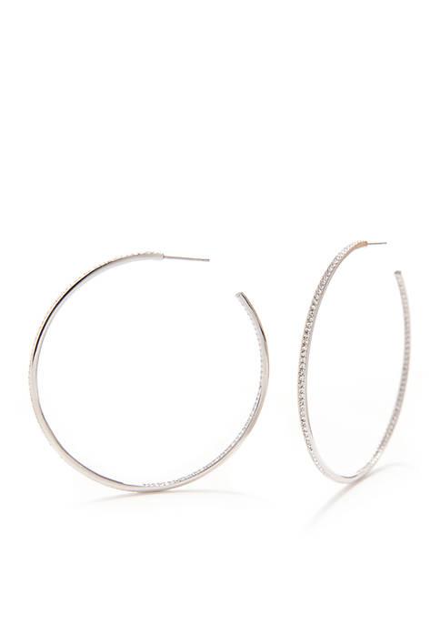 Nadri Silver-Tone Large Pave Hoop Earrings