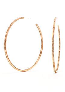 Nadri Rose Gold-Tone Pave Crystal Hoop Earrings