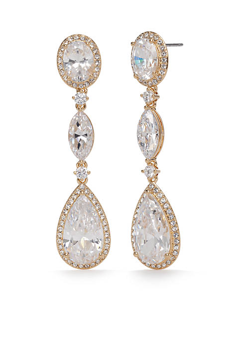 Nadri Gold-Tone Oval Drop Earrings
