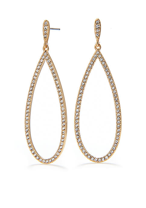 Crystal Pave Drop Gold-Tone Earring