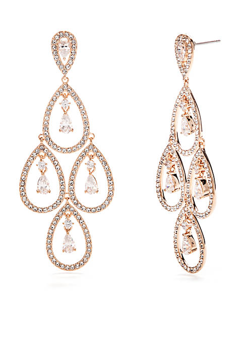 Nadri Rose Gold-Plated CZ Pear Kite Drop Earrings