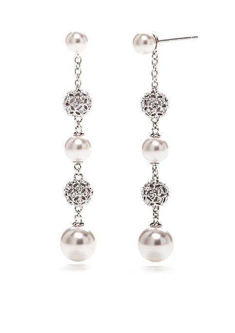 Nadri Silver-Ton Pearl Linear Post Earrings
