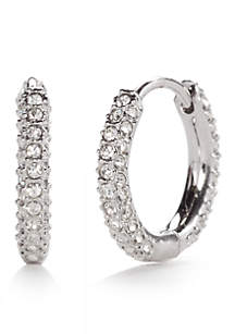 Silver-Tone Pave Huggie Earrings