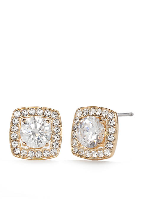 Nadri Gold-Plated Square Framed Stud Earrings