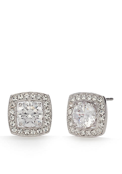 Nadri Silver-Tone Square Cubic Zirconia Stud Earrings