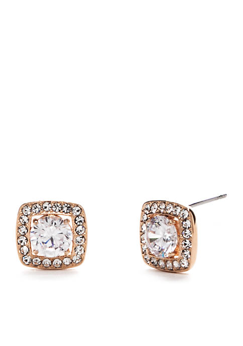 Nadri Rose Gold-Plated Square Framed CZ Stud Earrings