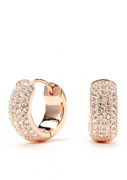 Nadri Gold-Tone Pave Crystal Miniature Hoop Earrings