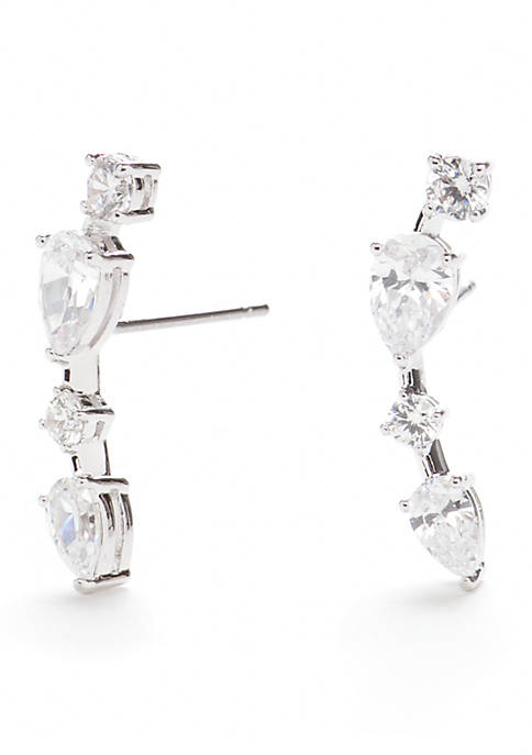 Nadri Silver-Tone Cluster Stud Earrings