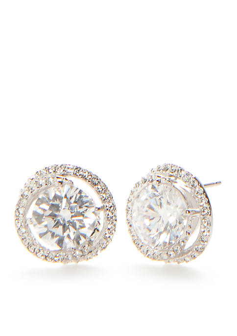 Nadri Silver-Tone Cubic Zirconia Button Earrings