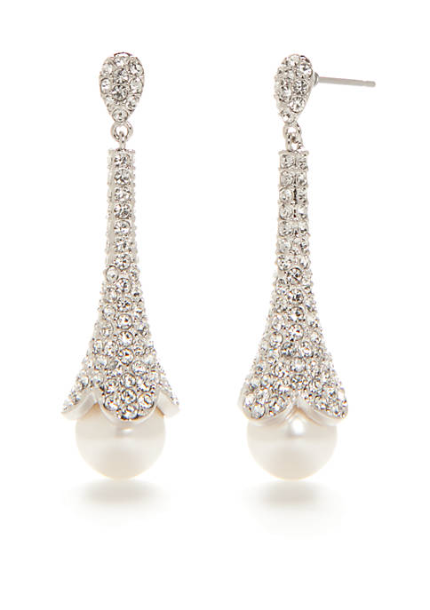 Nadri Silver-Tone Pave Stone and Pearl Drop Earrings