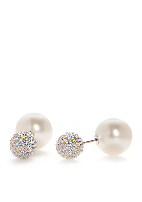 Nadri Silver-Tone Pave Crystal Ball and Pearl Front
