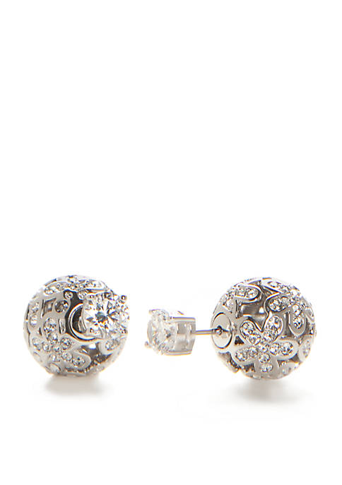 Nadri Silver-Tone Flowerball Front Back Earrings