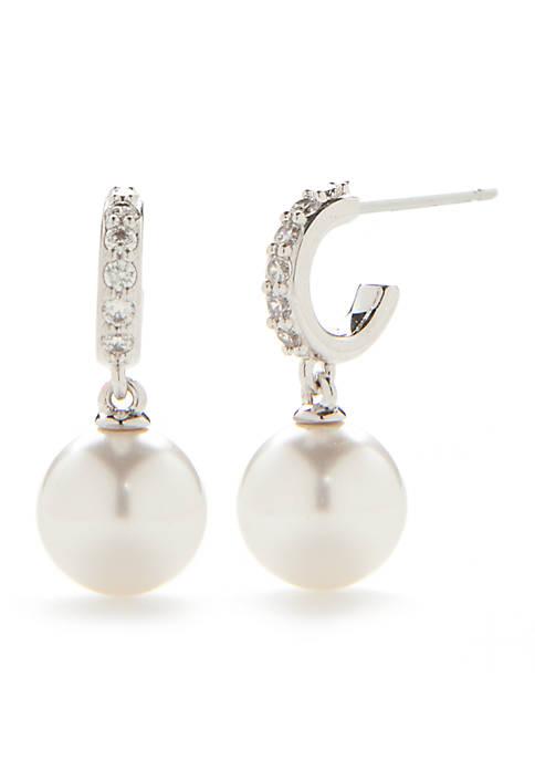 Silver-Tone Small Pearl Hoop Earrings