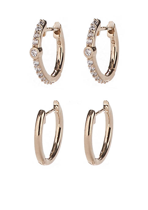 Nadri Gold-Tone Pave Set Of 2 Huggie Earrings