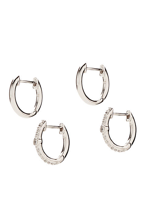 Nadri Set of 2 Silver-Tone Pave Huggie Earrings