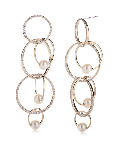 Nadri Gold-Tone Pave Overlapping Long Earring