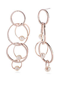 Rose Gold-Tone Pave Overlapping Long Earring