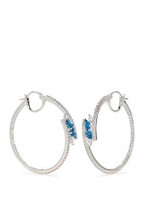 Silver-Tone Bypass Hoop Earrings
