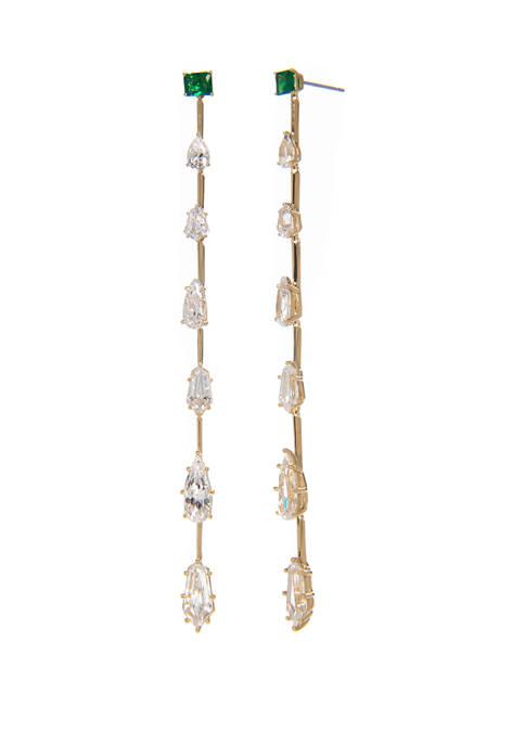 Eliza Green Linear Earrings