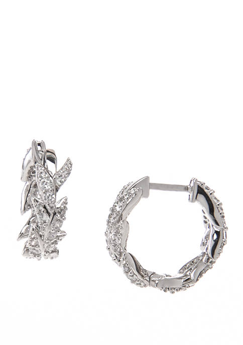 Nadri Liv Leaf Huggie Earrings