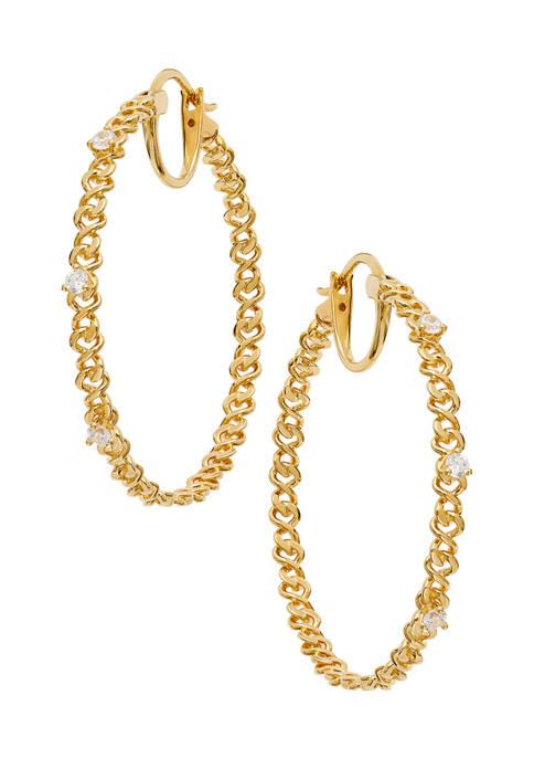 Nadri Lux Chain Hoop Earrings