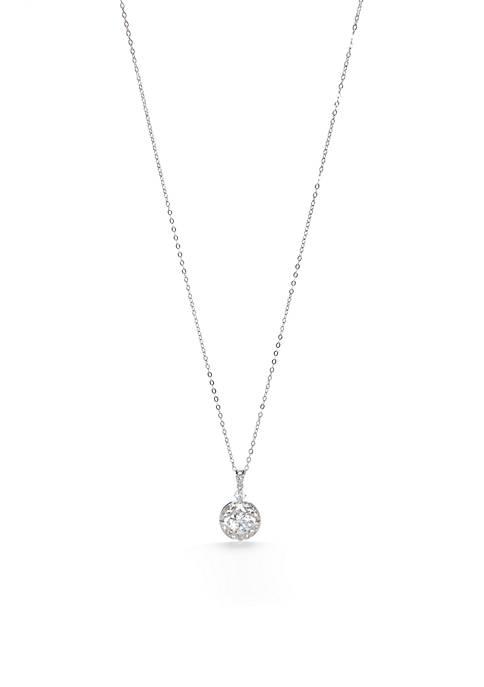 Nadri Silver-Tone Round Pendant Necklace
