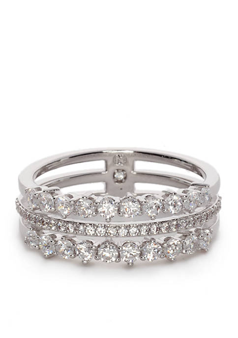 Nadri Silver-Tone Faux Stackable Ring