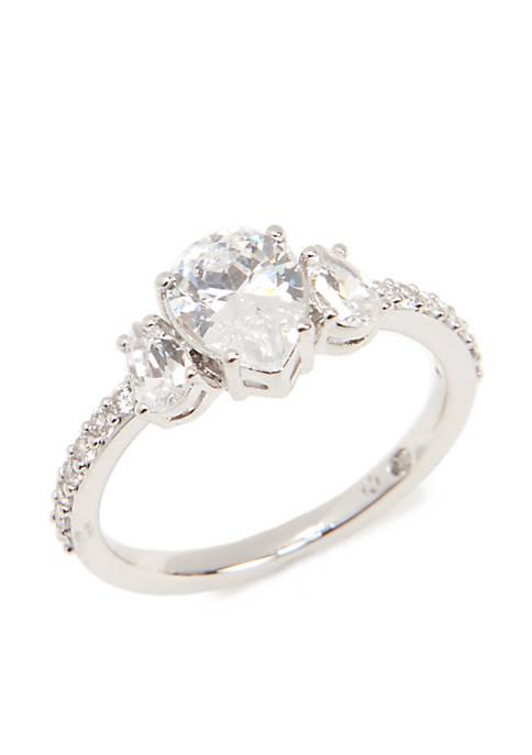Silver-Tone Three Stone Cubic Zirconia Ring
