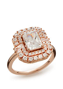 Rose Gold-Tone Cubic Zirconia Statement Ring