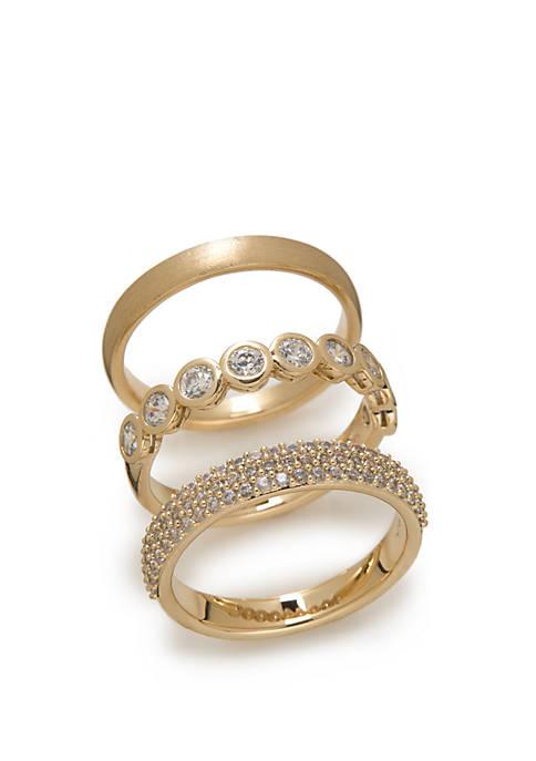 Gold Tone 3 Piece Ring Set