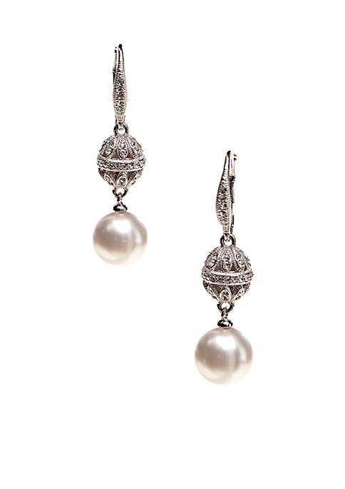 Pearl Earring in Bezel Drop
