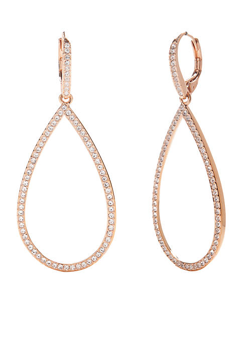 Nadri Rose Gold-Tone Pave Open Teardrop Earrings