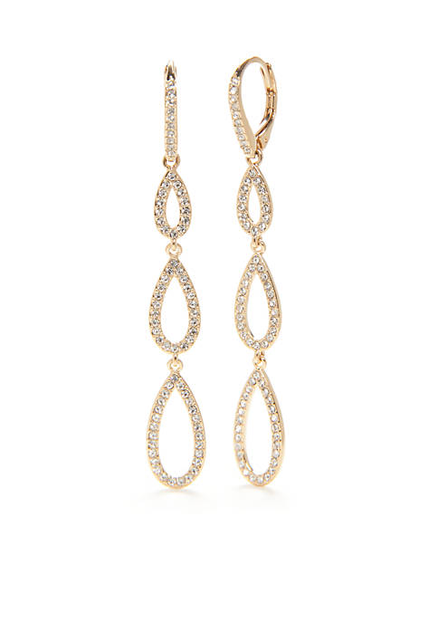 Nadri Gold Three Tiered Drop Earrings