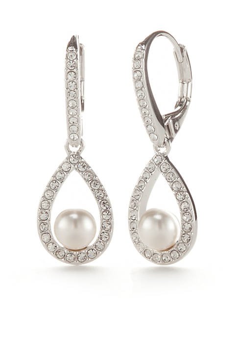 Nadri Silver-Tone Framed Pearl Teardrop Earrings