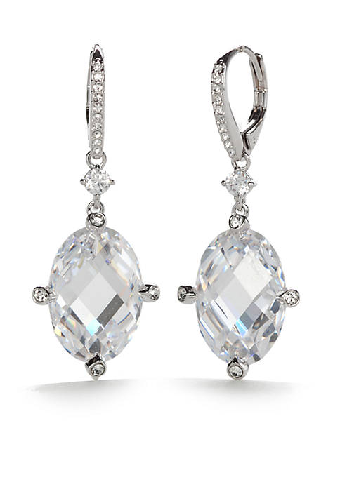 Silver-Tone Large Cubic Zirconia Lever Back Drop Earrings