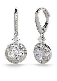 Silver-Tone Cubic Zirconia Link Lever Back Drop Earrings