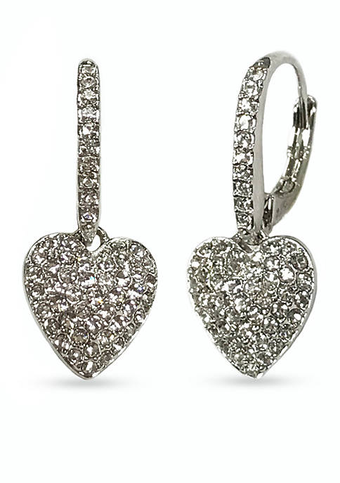 Silver-Tone Pave Heart Drop Earring