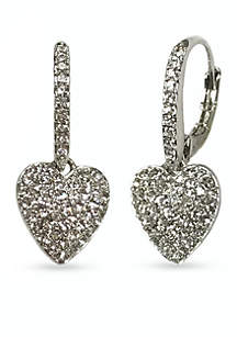 Silver-Tone Pave Heart Drop Earring