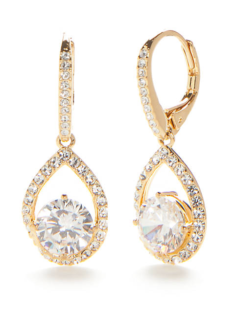 Nadri 18kt Gold-Plated Cubic Zirconia Drop Earrings