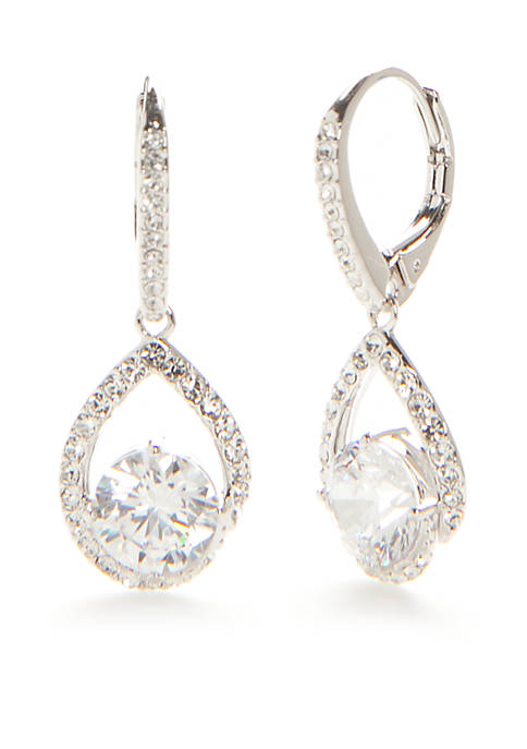 18kt Gold-Plated Cubic Zirconia Drop Earrings