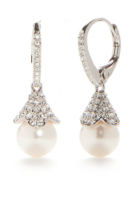 Nadri Silver-Tone Pearl Drop Earrings