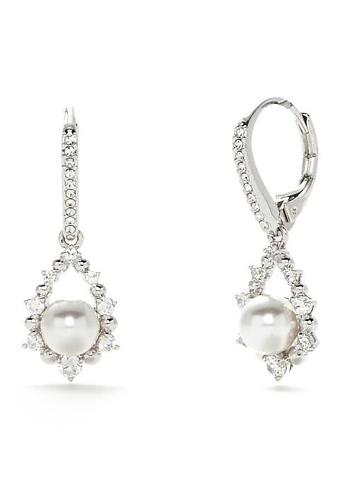 Nadri Silver-Tone Marion Pearl Drop Earrings
