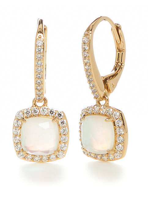 Nadri Gold-Plated Framed Mother Of Pearl Drop Earrings