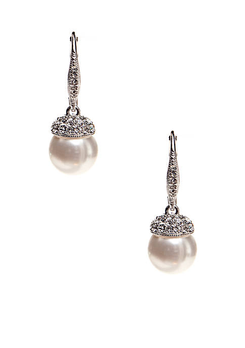 Pearl Drop Pave Cap Earrings