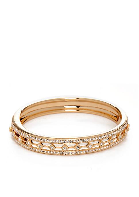 Nadri Hinged Closure Gold-Tone Bangle Bracelet
