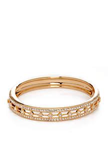 Hinged Closure Gold-Tone Bangle Bracelet