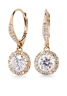 Nadri Framed Cubic Zirconia Leverback Earrings