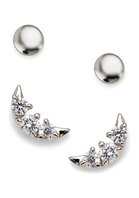 AVA Nadri Moon and Circle Stud Earring Set
