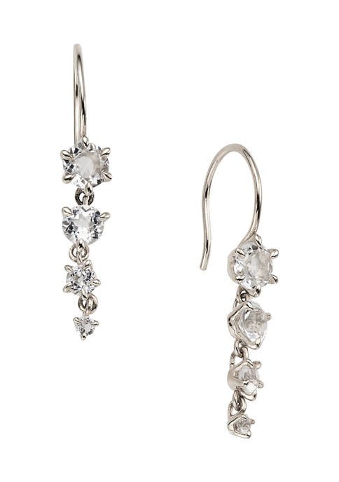 AVA Nadri Silver Tone French Wire Earrings