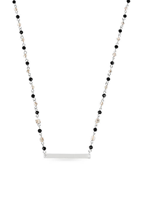 Silver-Tone Black Diamond Faceted Bead & Silver-Tone Bar Frontal Necklace